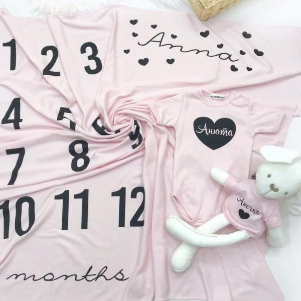 Пеленка-календарь для фотосессий именная с сердечками