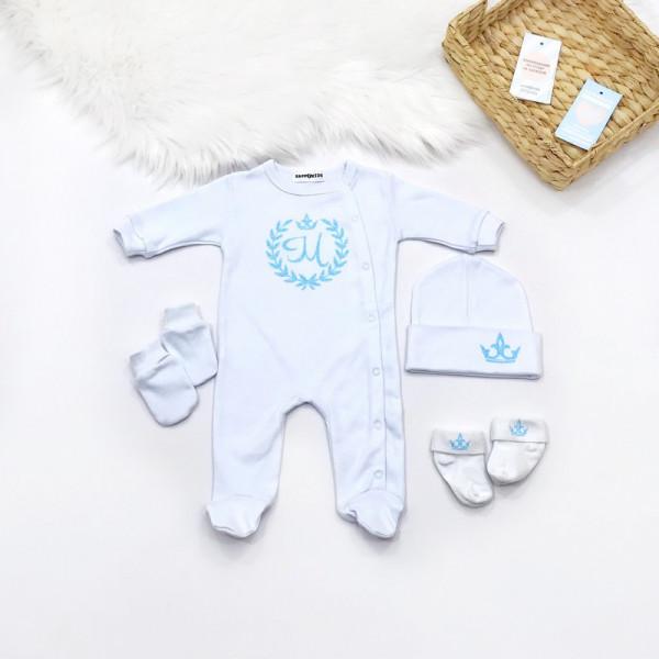 Крестильный набор с инициалом в веночке глиттер со слипом - фото