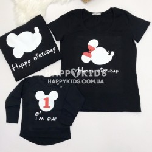 Набор семейных футболок  Микки Happy Birthday в профиль - фото