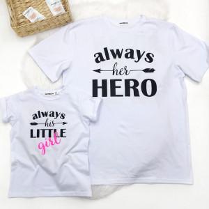 "Футболка для папы ""Always her HERO"""