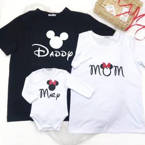 Набор семейных футболок с Минни маус, мама/папа/дочь - фото