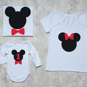 Набор семейных футболок  Микки с бабочкой - фото
