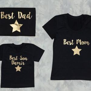 Набор семейных футболок  Best Mom, Best Dad, Best Son со звездой - фото